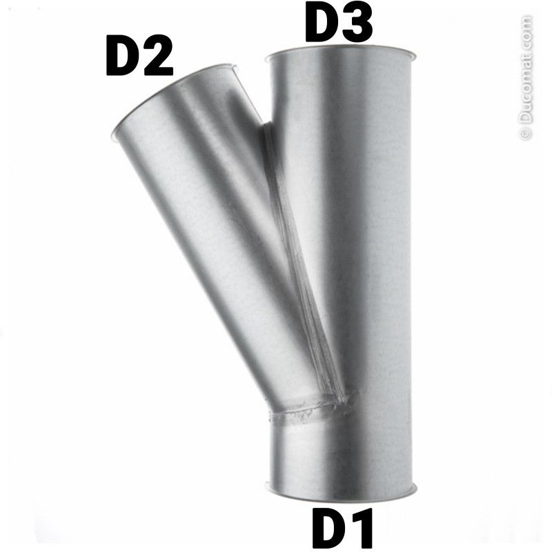 Dérivation Ø 120 fb. x 120 fb. x 120 fb. mm, à 30°