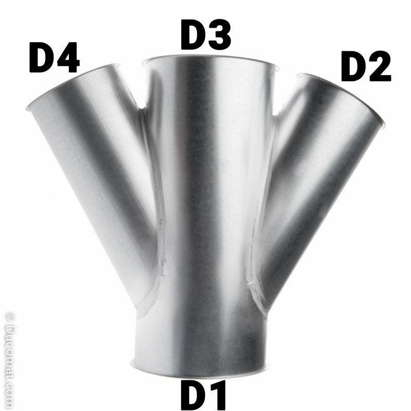 Dérivation double 150 x 150 x 150 x 150 fb. à 30°
