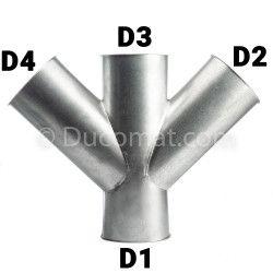 Dérivation double 350 f.bb. x 150 fb. x 350 f.bb. x 150 fb. à 45°