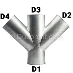 Doppelabzweig 350 f.bb. x 150 fb. x 350 f.bb. x 150 fb. von 45°