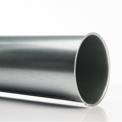 Galva. pipe, Ø 125 mm, 2,0 m. for woodshop dust collection
